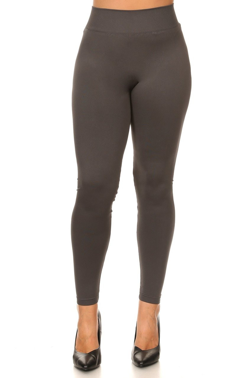 Front view image of Charcoal Extra Thick Solid Basic Plus Size Leggings