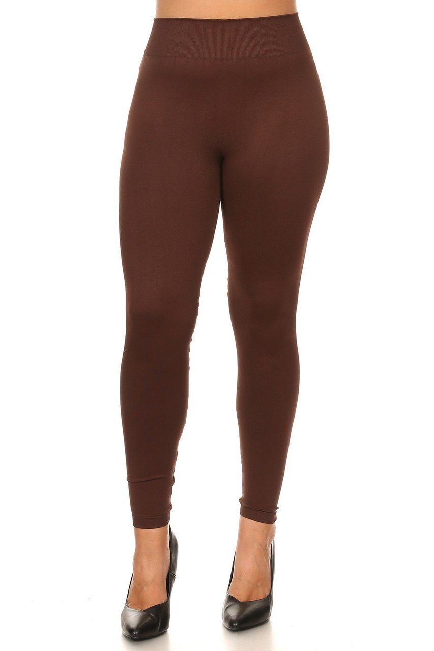 Front view image of Brown Extra Thick Solid Basic Plus Size Leggings
