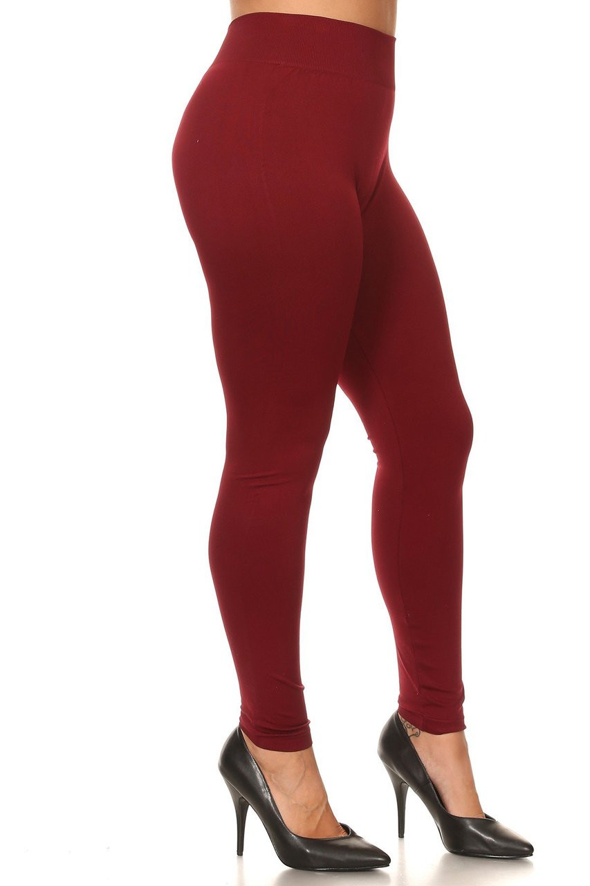 Right Side Image of Burgundy Extra Thick Solid Basic Plus Size Leggings