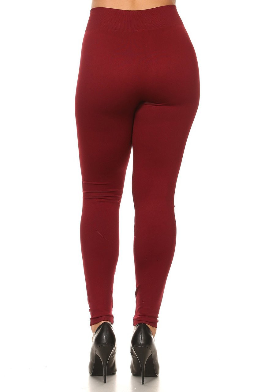 Back view image of Burgundy Extra Thick Solid Basic Plus Size Leggings