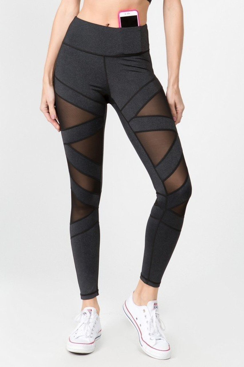 Front view of Black Premium Cruiser Crisscross Sport Active Leggings featuring triangular shaped mesh cut outs.
