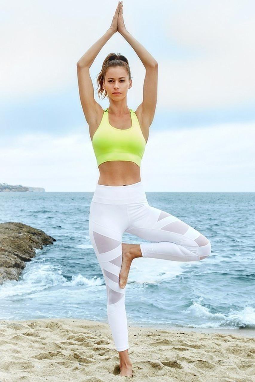Full body image of White Premium Cruiser Crisscross Sport Active Leggings