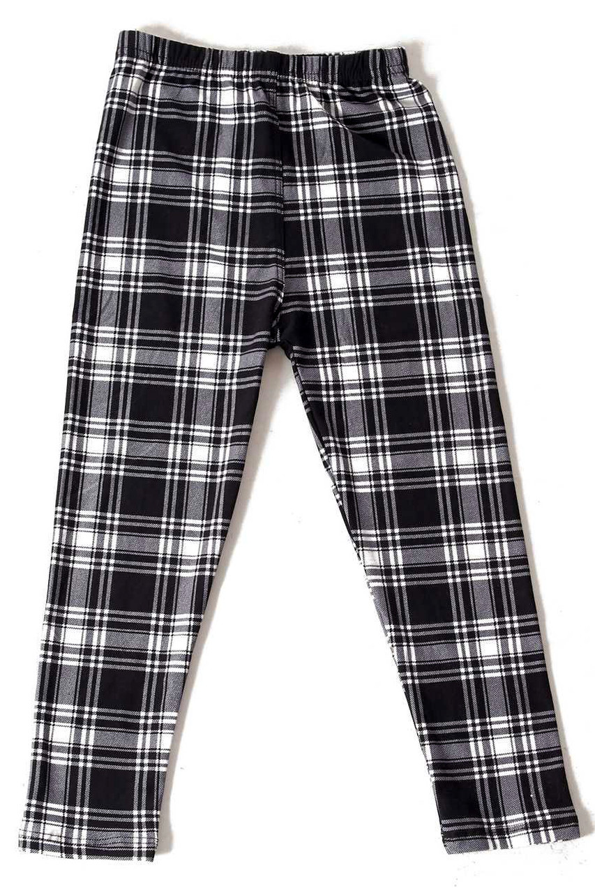 Flat front view image of our classically designed Buttery Soft Monochrome Tartan Plaid Kids Leggings with a neutral black and white design that pairs with a top of any color for any season.