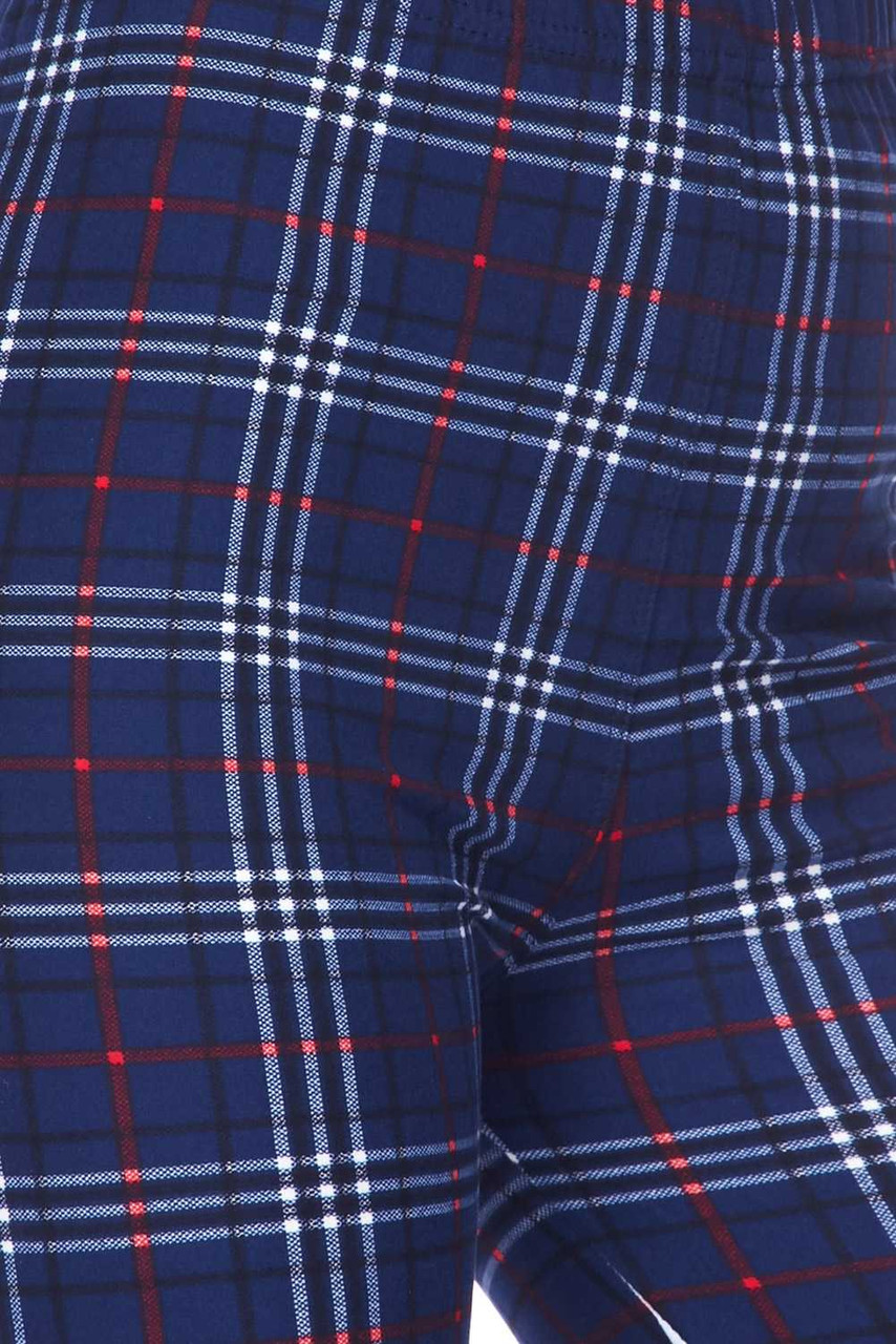 Close up image swatch of Buttery Soft Navy Blue Plaid Kids Leggings