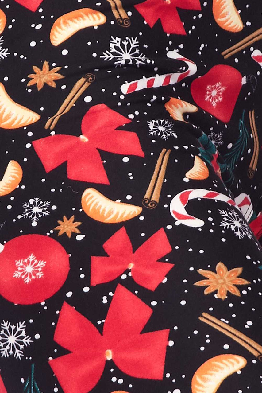 Close up image swatch of Buttery Soft Traditional Country Christmas Kids Leggings