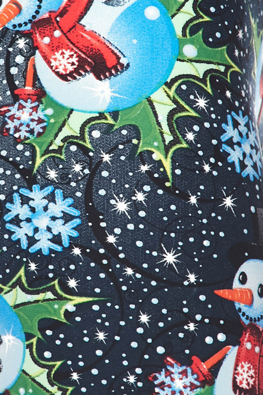 Close up image swatch of Buttery Soft Frosty Blue Snowman Christmas Kids Leggings