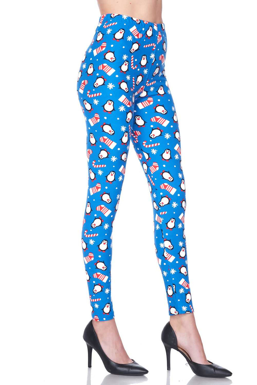 Right side view image of Buttery Soft Icy Blue Christmas Penguins Leggings.