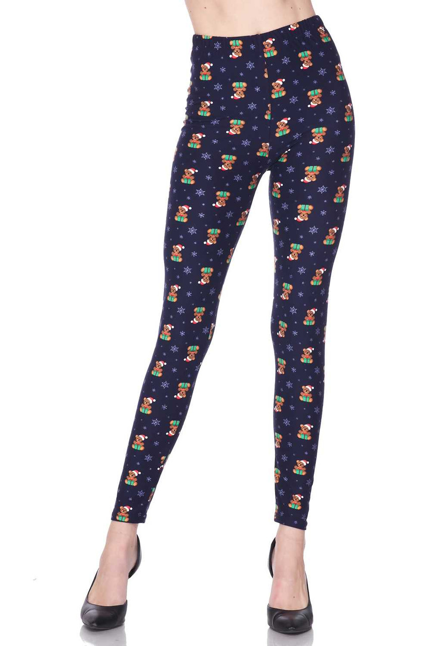 Front view image of Buttery Soft Christmas Teddy Bears Leggings featuring an adorable print of  teddies in Santa hats holding presents.