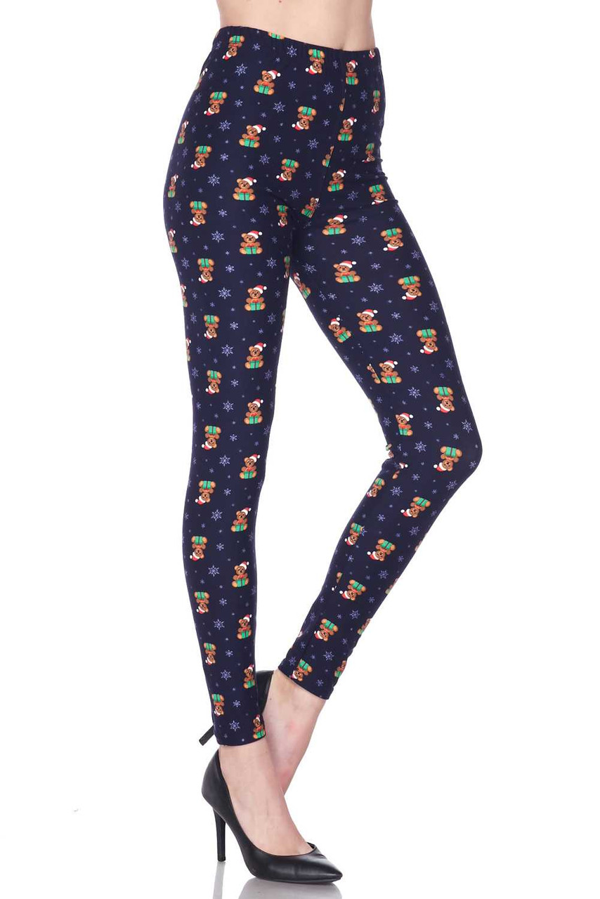 Right side bent knee image of Buttery Soft Christmas Teddy Bears Plus size Leggings featuring a fabulously festive design, perfect for the holidays.