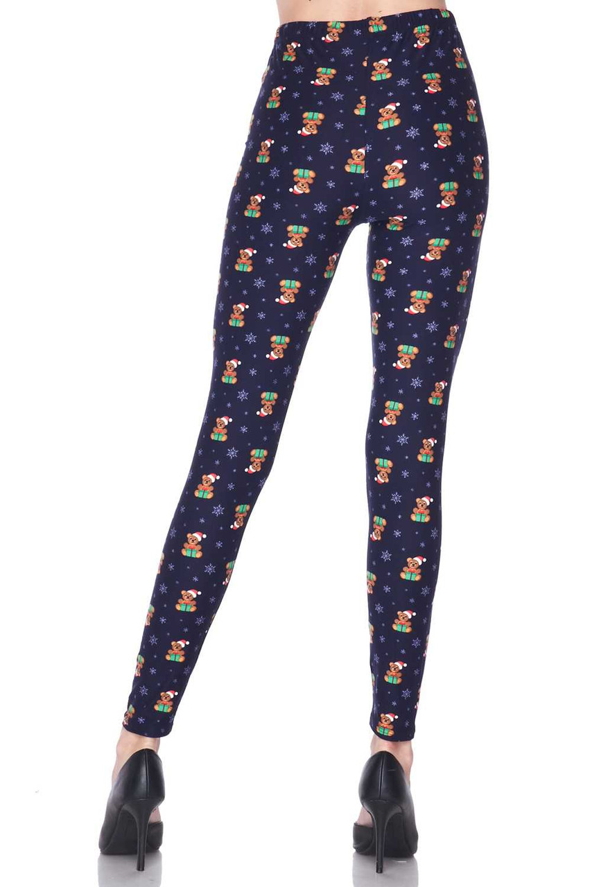 Back view image of out flattering fitted Buttery Soft Christmas Teddy Bears Plus size Leggings