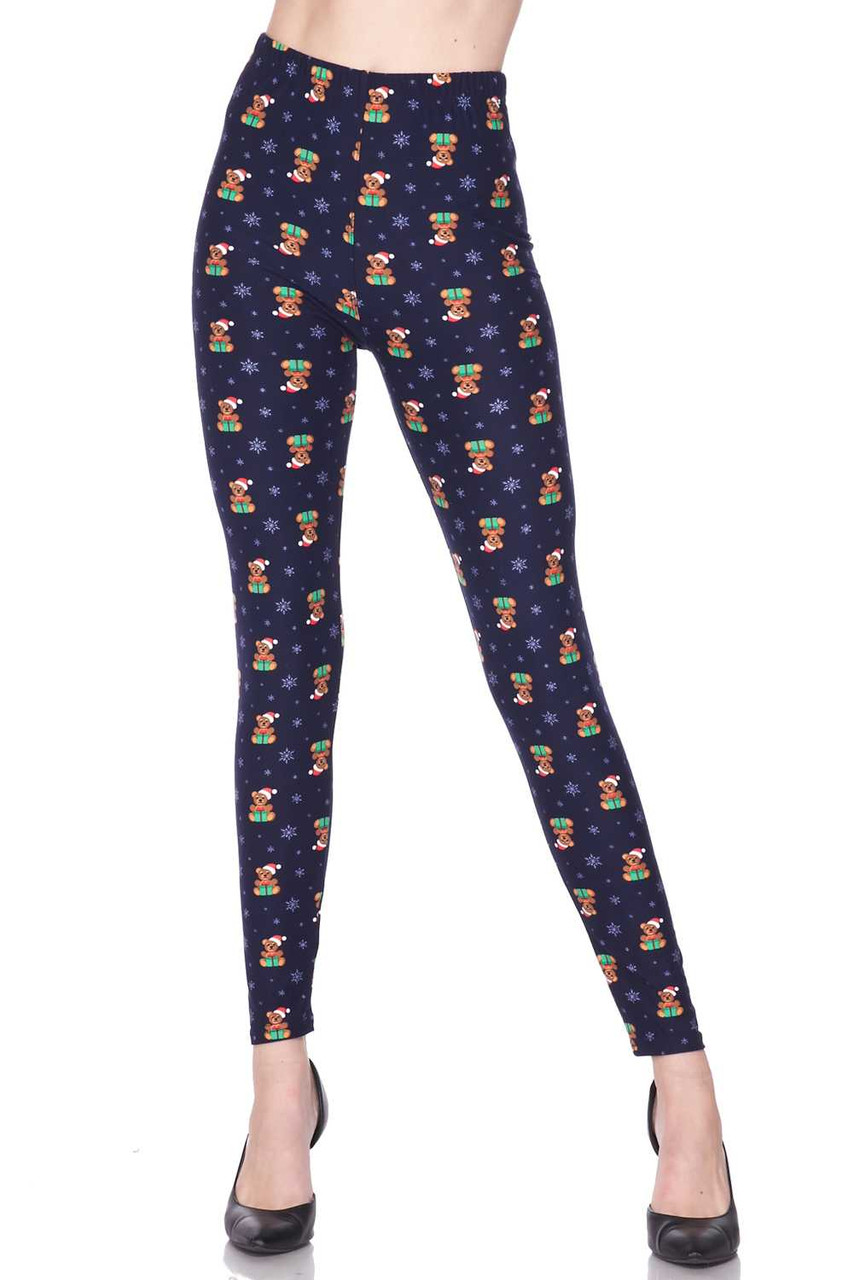 Front view image of our mid rise Buttery Soft Christmas Teddy Bears Plus Size Leggings with a comfort stretch banded waist.