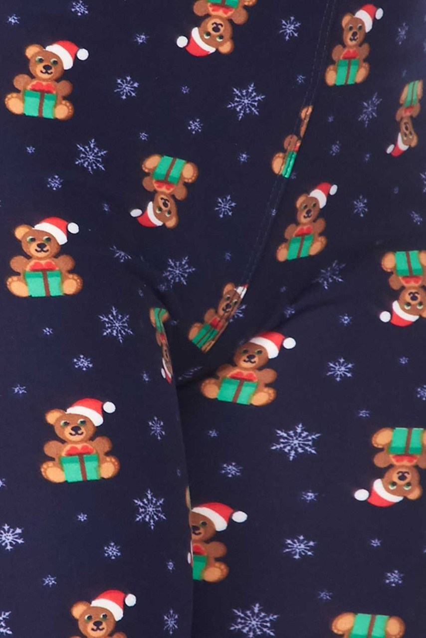 Close up image swatch of Buttery Soft Christmas Teddy Bears Extra Plus size Leggings - 3X-5X
