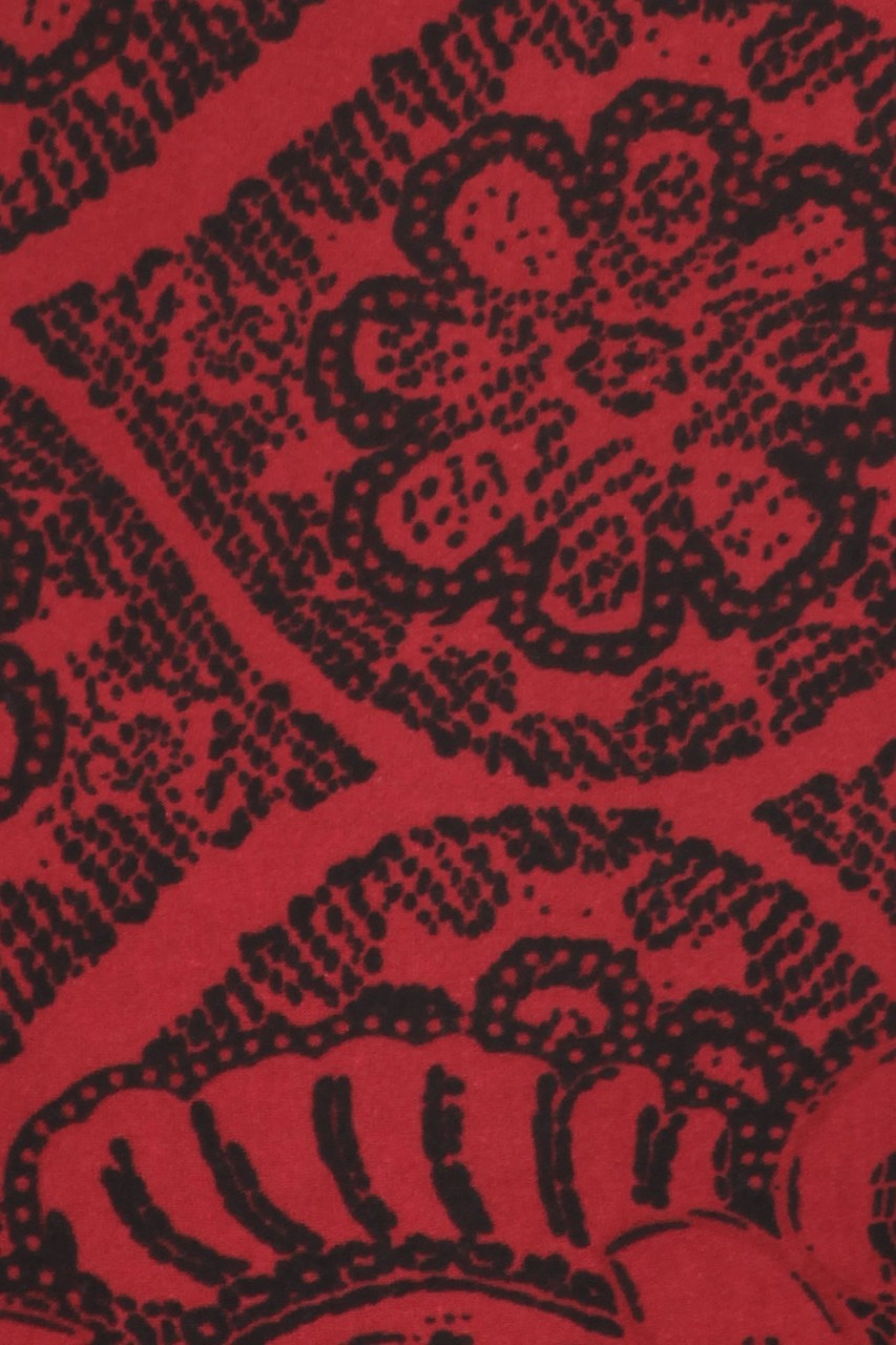 Close up image swatch of Buttery Soft Rouge Exquisite Leaf Plus Size Leggings