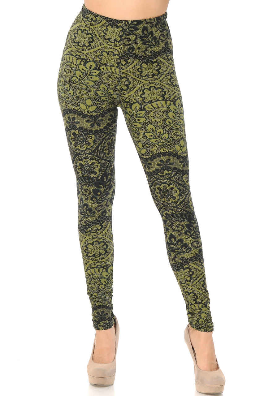 Front view of our full length skinny leg cut Buttery Soft Olive Exquisite Leaf Leggings showcasing a gorgeous and classy design.