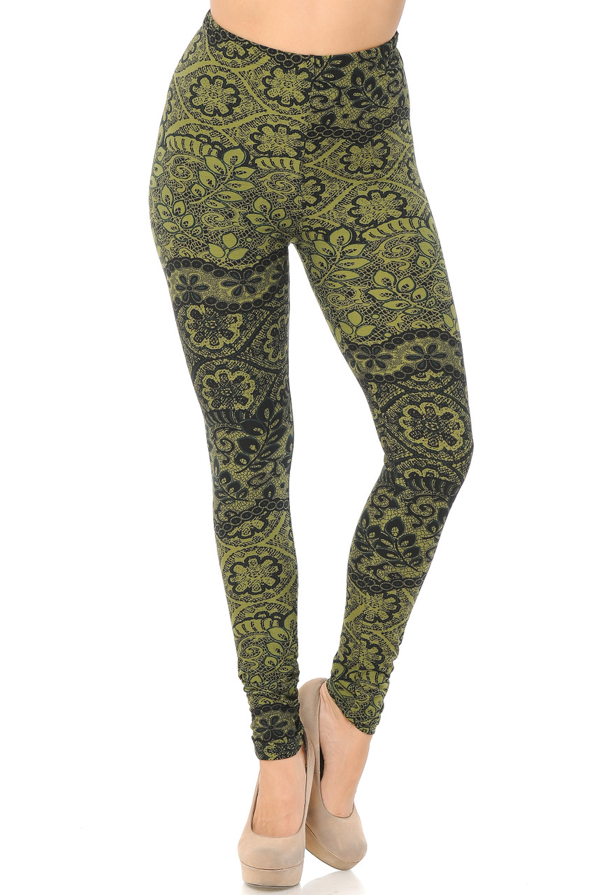 Front view image of our mid rise Buttery Soft Olive Exquisite Leaf Leggings featuring a comfort stretch elastic waistband.