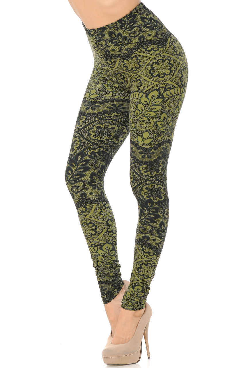 Bent knee Left side view image of Buttery Soft Olive Exquisite Leaf Extra Plus Size Leggings featuring a gorgeous decorative design consisting of lace inspired floral prints that goes with dressy or casual tops of any color for all seasons.