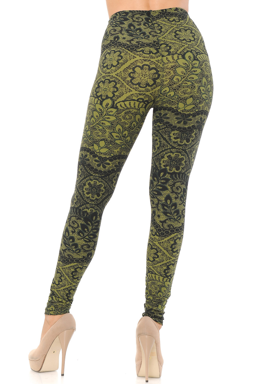 Back view image of our form fitting and figure flattering Buttery Soft Olive Exquisite Leaf Extra Plus Size Leggings - 3X-5X