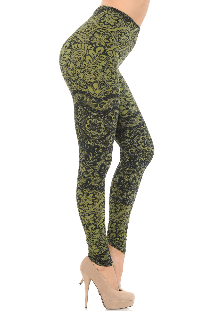 Right side view image of Buttery Soft Olive Exquisite Leaf Extra Plus Size Leggings - 3X-5X
