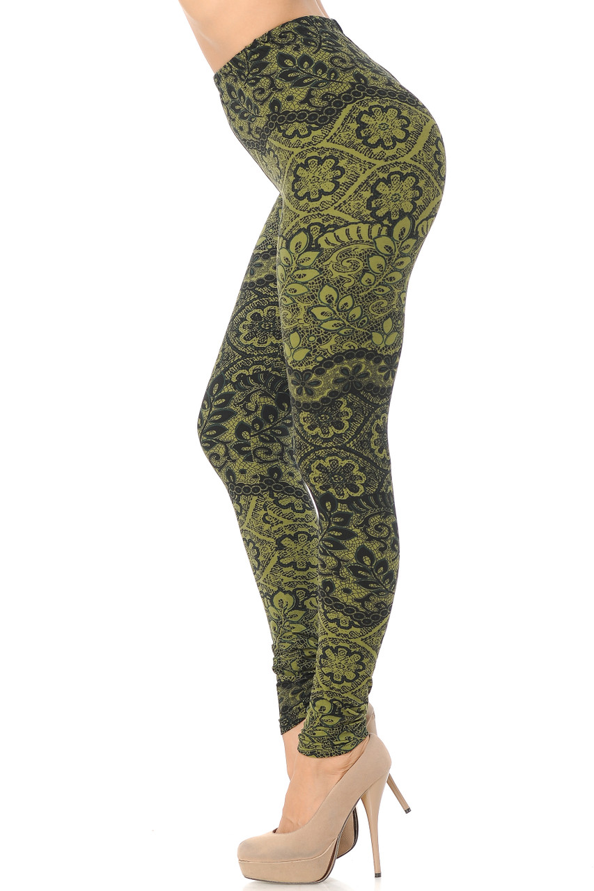 Left side view image of Buttery Soft Olive Exquisite Leaf Extra Plus Size Leggings - 3X-5X