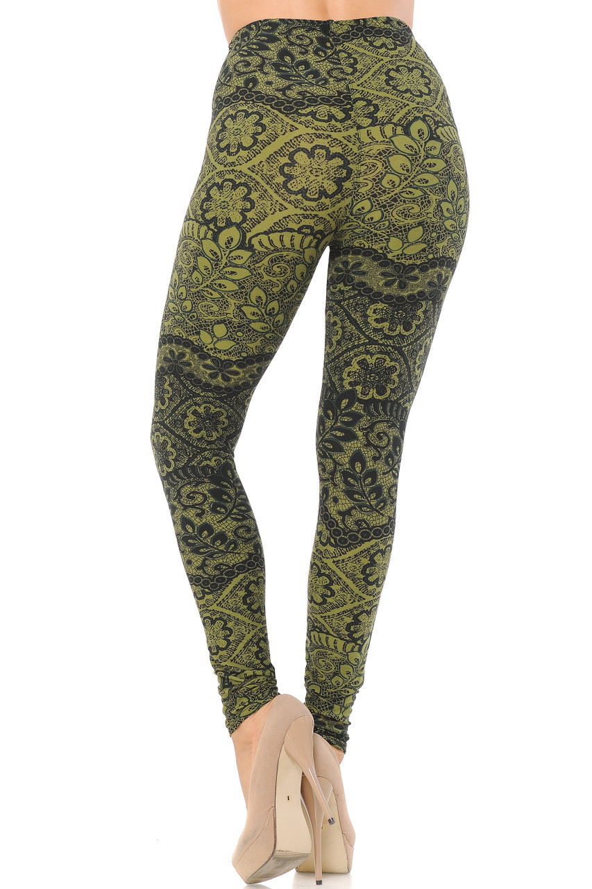 Rear view image of Buttery Soft Olive Exquisite Leaf Extra Plus Size Leggings - 3X-5X