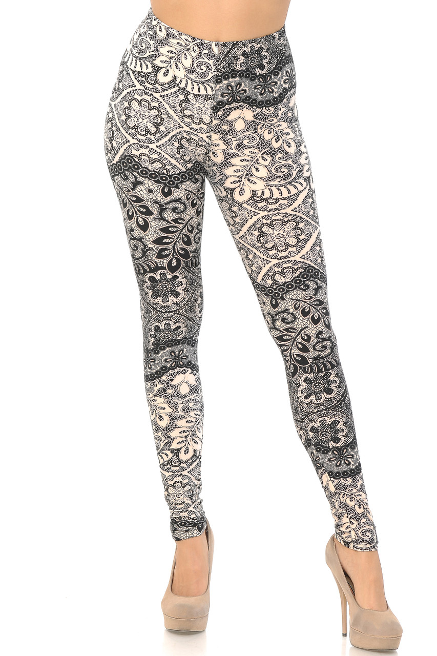 Front view of our full length skinny leg cut Buttery Soft Cream Exquisite Leaf Plus Size Leggings showcasing a gorgeous and classy design.