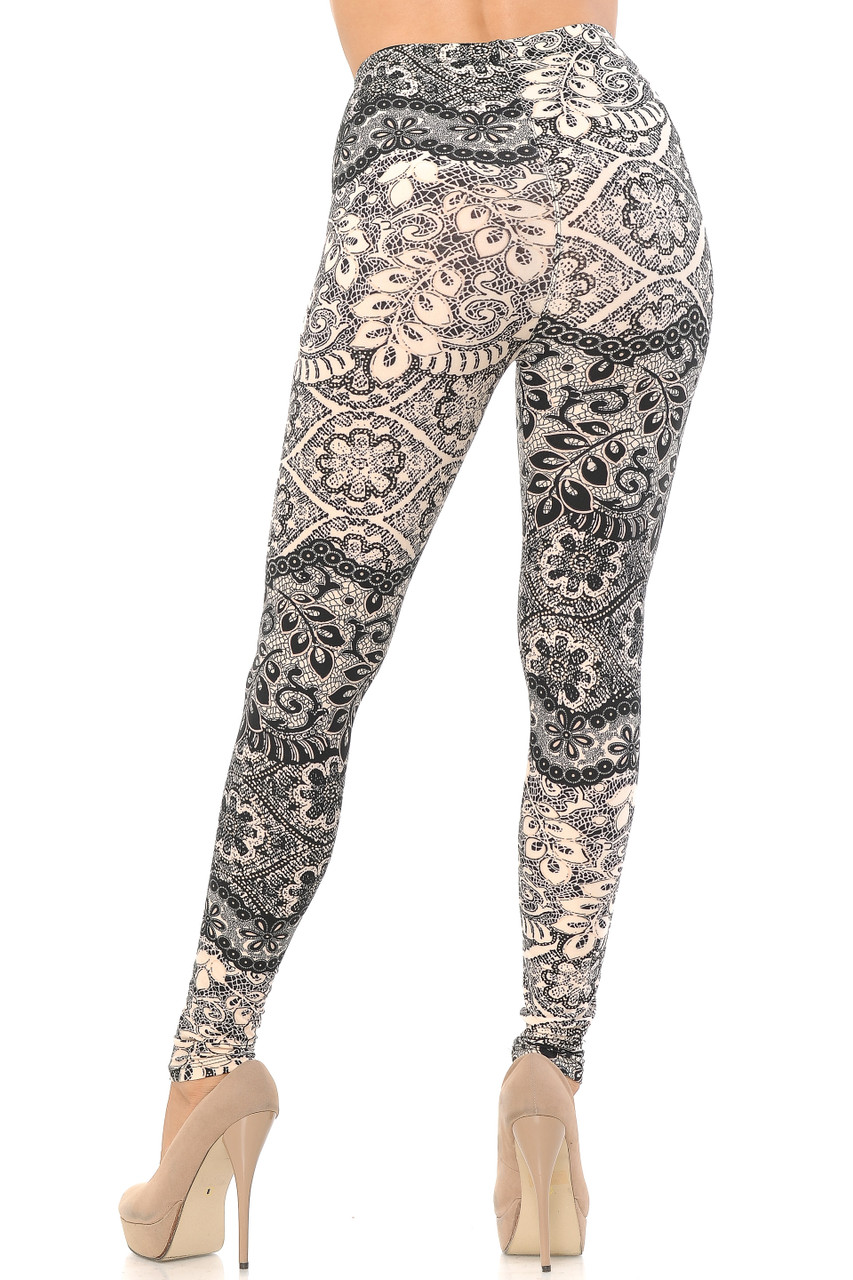 Back view image of our form fitting and figure flattering Buttery Soft Cream Exquisite Leaf Extra Plus Size Leggings - 3X-5X