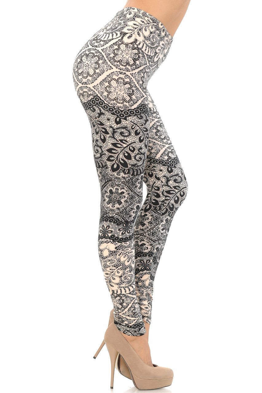 Right side view image of Buttery Soft Cream Exquisite Leaf Extra Plus Size Leggings - 3X-5X