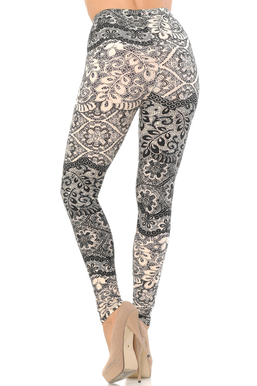 Rear view image of Buttery Soft Cream Exquisite Leaf Extra Plus Size Leggings - 3X-5X