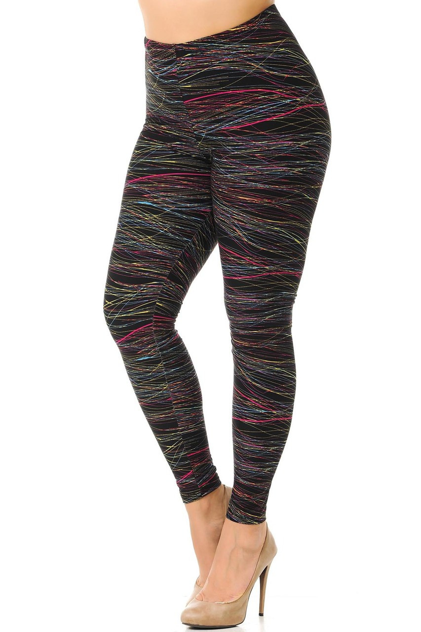 Angled partial front/right side view image of our Buttery Soft Rainbow Lines Extra Plus Size Leggings featuring a sassy all over wrap around print of thin multi-colored lines that contrast a black background, giving it a darker look that fits in with the tone of any season.