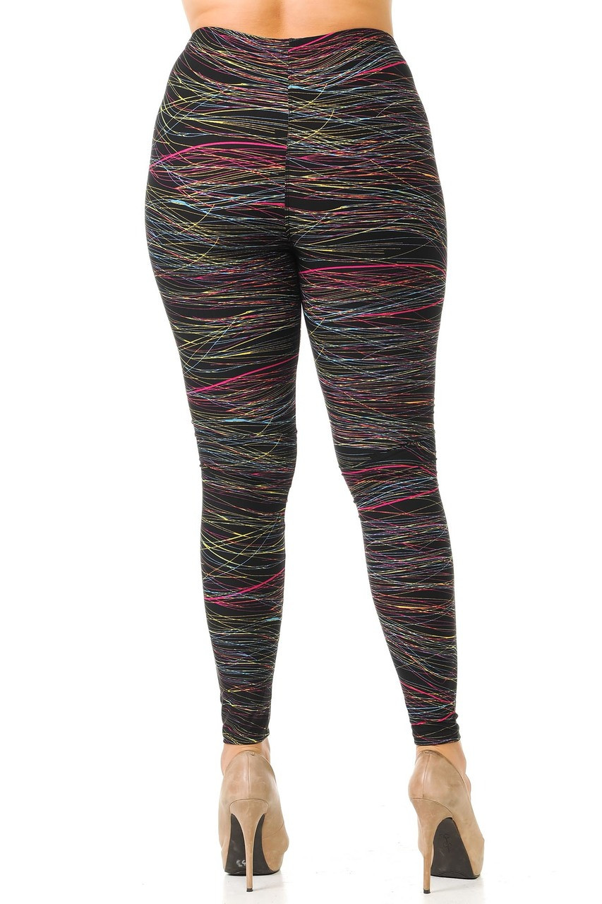 Back view of our figure hugging and ultra flattering Buttery Soft Rainbow Lines Extra Plus Size Leggings