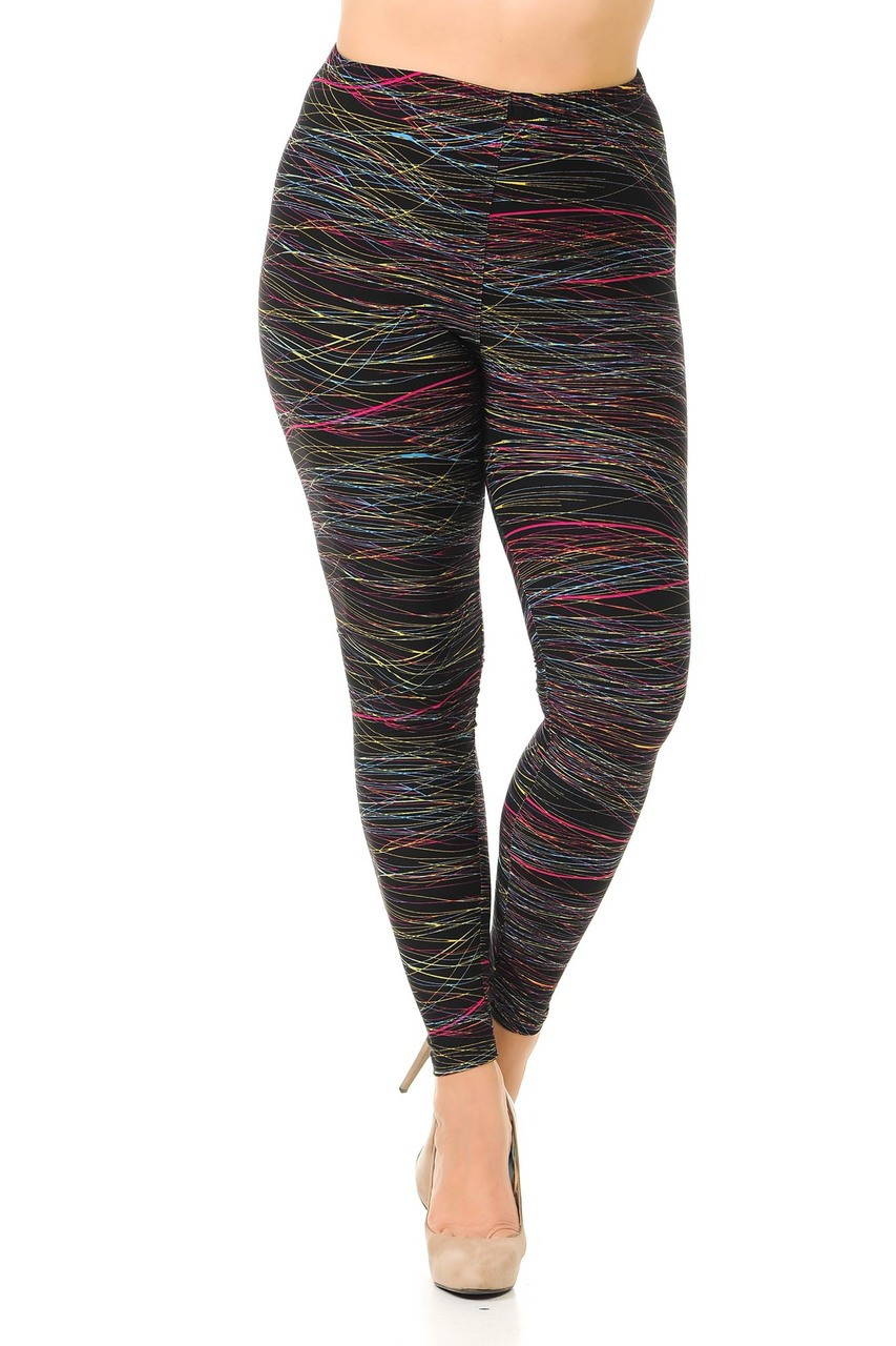 Front view image of Buttery Soft Rainbow Lines Extra Plus Size Leggings featuring an elastic comfort stretch waist that comes up to about mid rise.