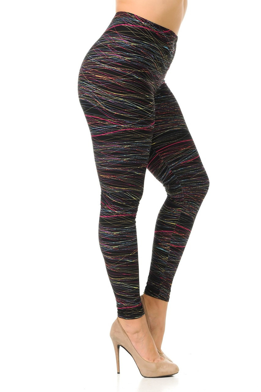 Right side view image of Buttery Soft Rainbow Lines Extra Plus Size Leggings.