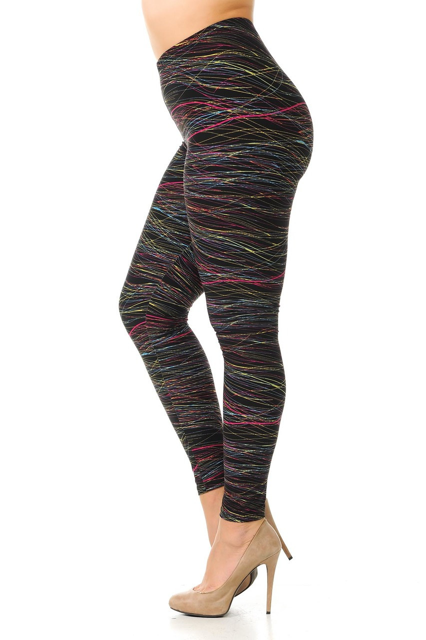 Left side view image of Buttery Soft Rainbow Lines Extra Plus Size Leggings.