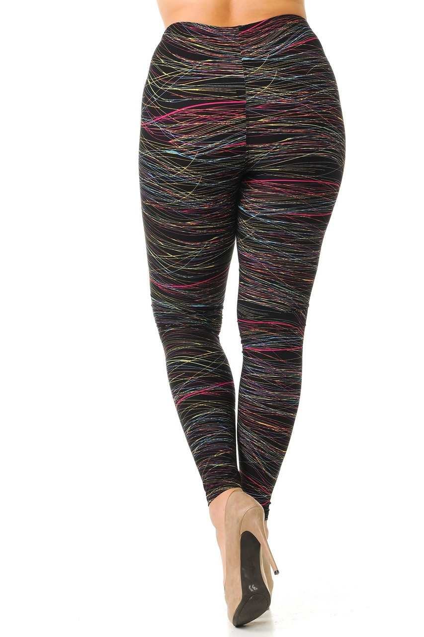 Rear view image of our Buttery Soft Rainbow Lines Extra Plus Size Leggings showcasing the 360 degree wrap around print.