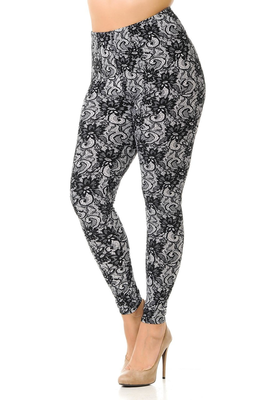 Left side view of our gorgeous Buttery Soft Sassy Lace Print Plus Size Leggings with a neutral and elegant look that pairs well with a top of any color and lends well to casual and dressy looks.