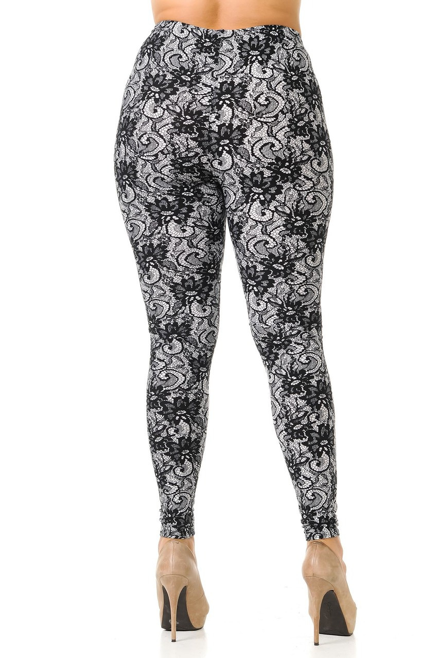 Back view image of Buttery Soft Sassy Lace Print Plus Size Leggings featuring a figure flattering fit.