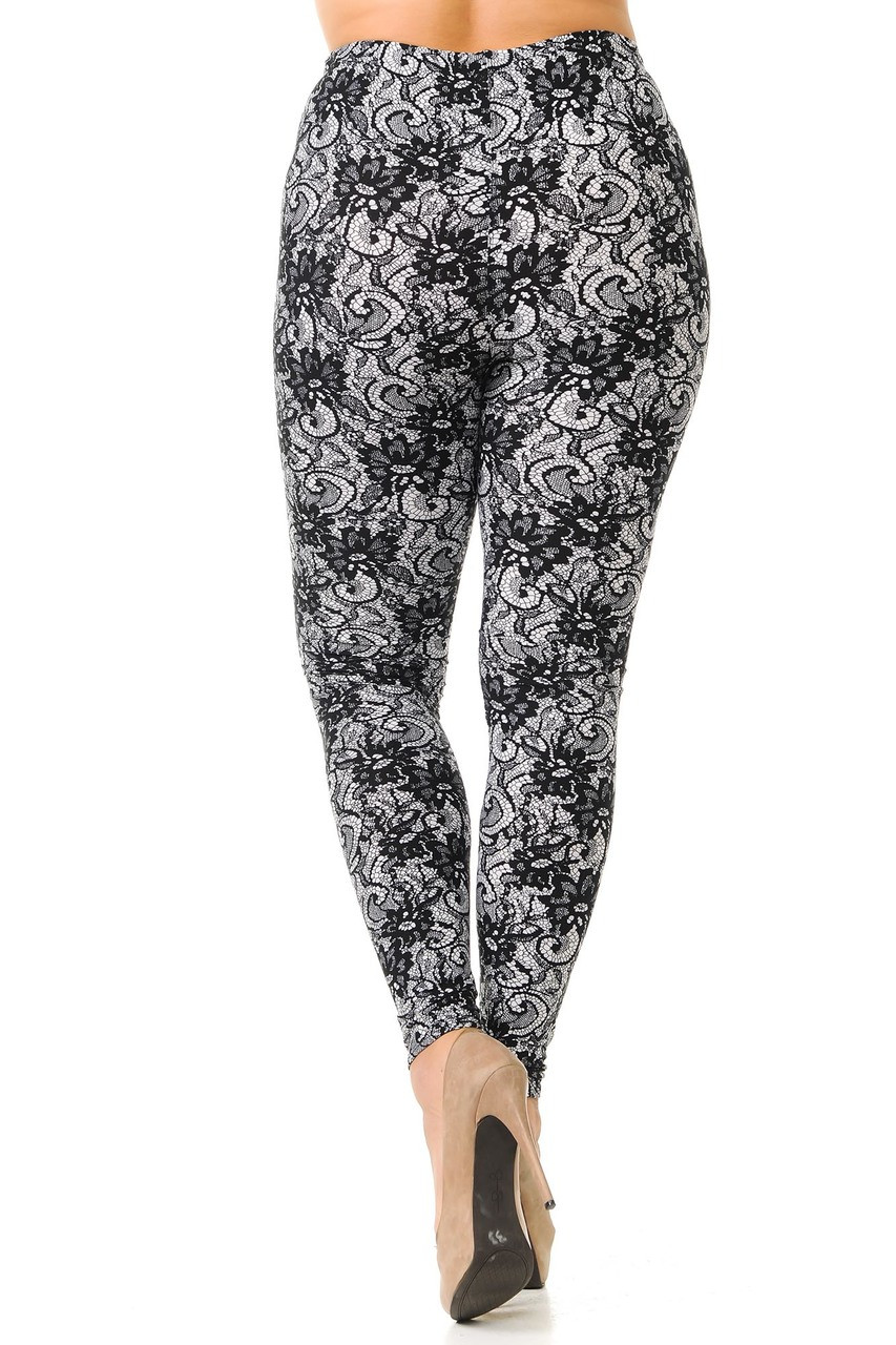 Back view image of Buttery Soft Sassy Lace Print Extra Plus Size Leggings - 3X-5X