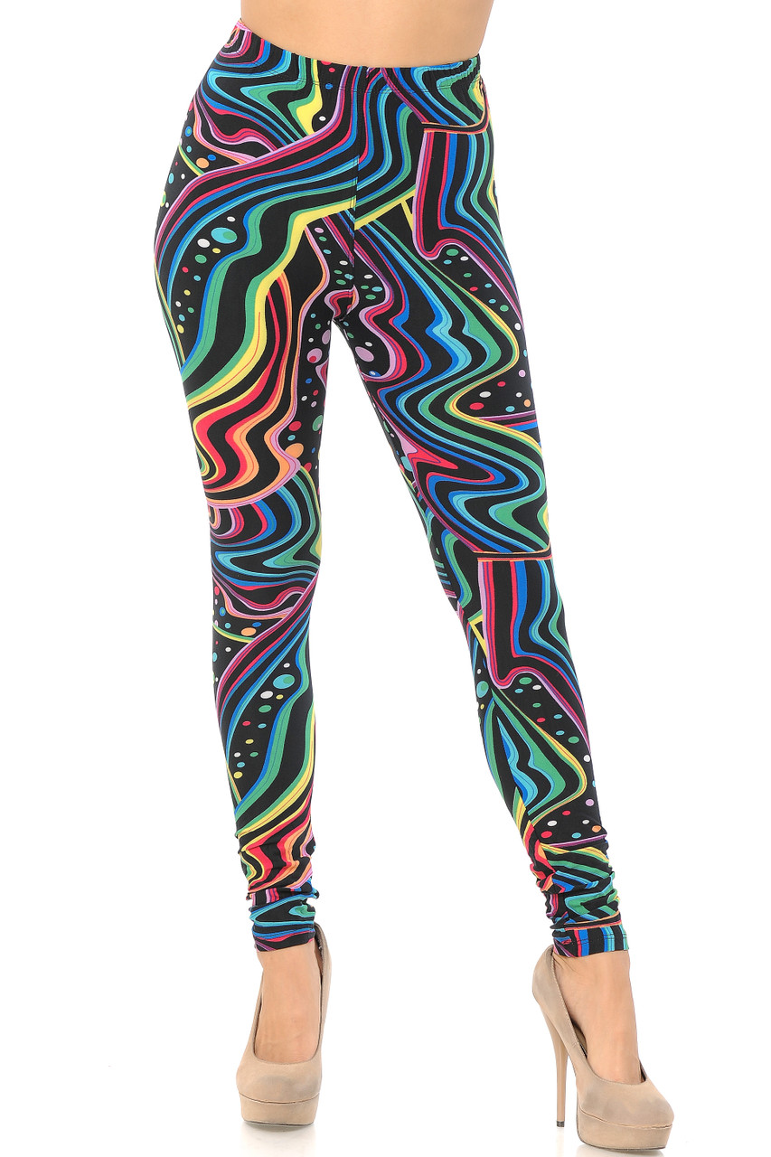 Front view image of Buttery Soft Rainbow Bash Leggings with a full length skinny leg cut.