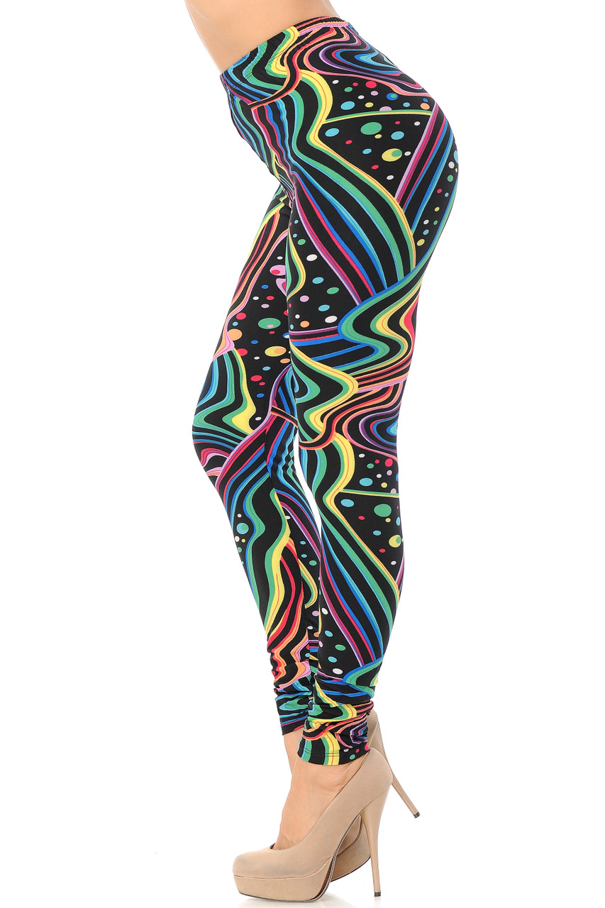 Left side view image of Buttery Soft Rainbow Bash Extra Plus Size Leggings - 3X-5X