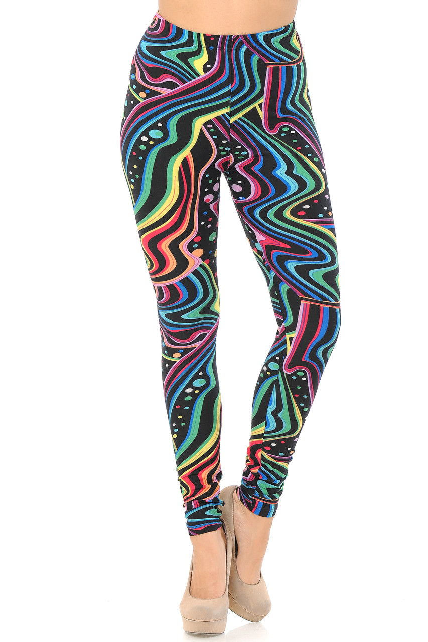 Front view image of full length skinny leg cut Buttery Soft Rainbow Bash Extra Plus Size Leggings with a mid rise comfort stretch elastic waistband.