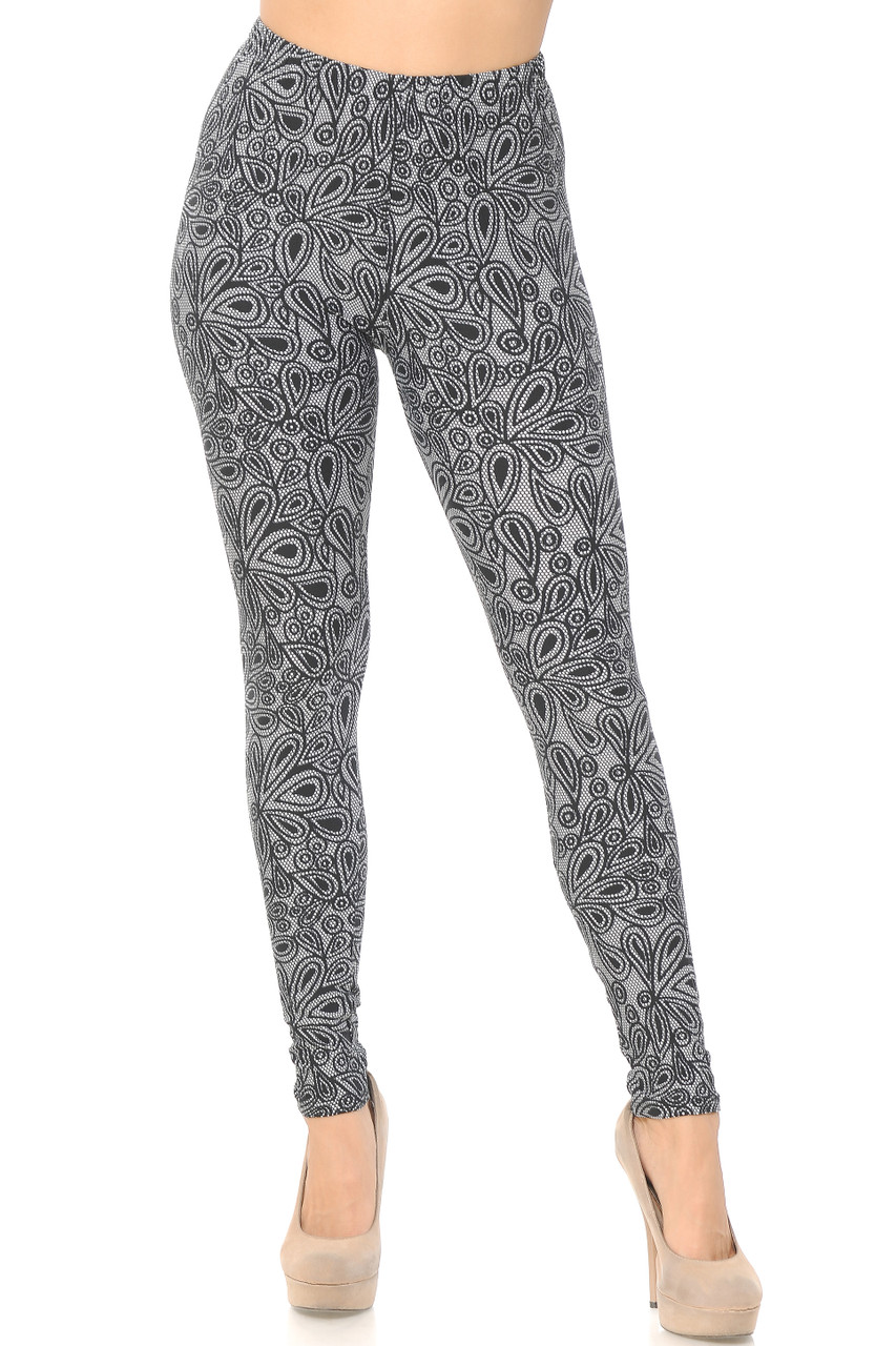 Front view image of full length skinny leg cut Buttery Soft Netted Petal Leggings with a comfort stretch elastic waist that comes up to about mid rise.