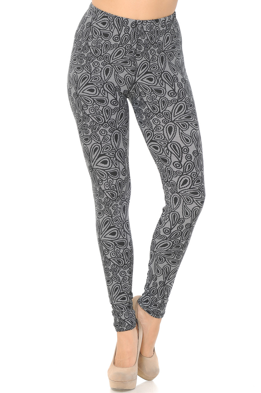 Buttery Soft Floral Netted Petal Leggings
