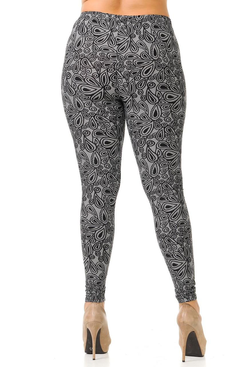 Rear view image of our form fitting Buttery Soft Netted Petal Plus Size Leggings