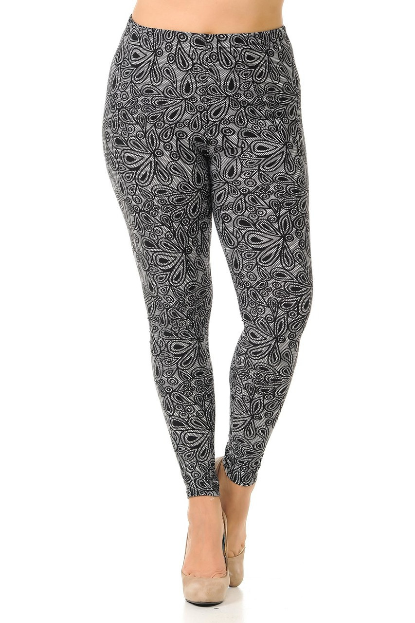 Front view image of full length skinny leg cut Buttery Soft Netted Petal Plus Size Leggings with a comfort stretch elastic waist that comes up to about mid rise.