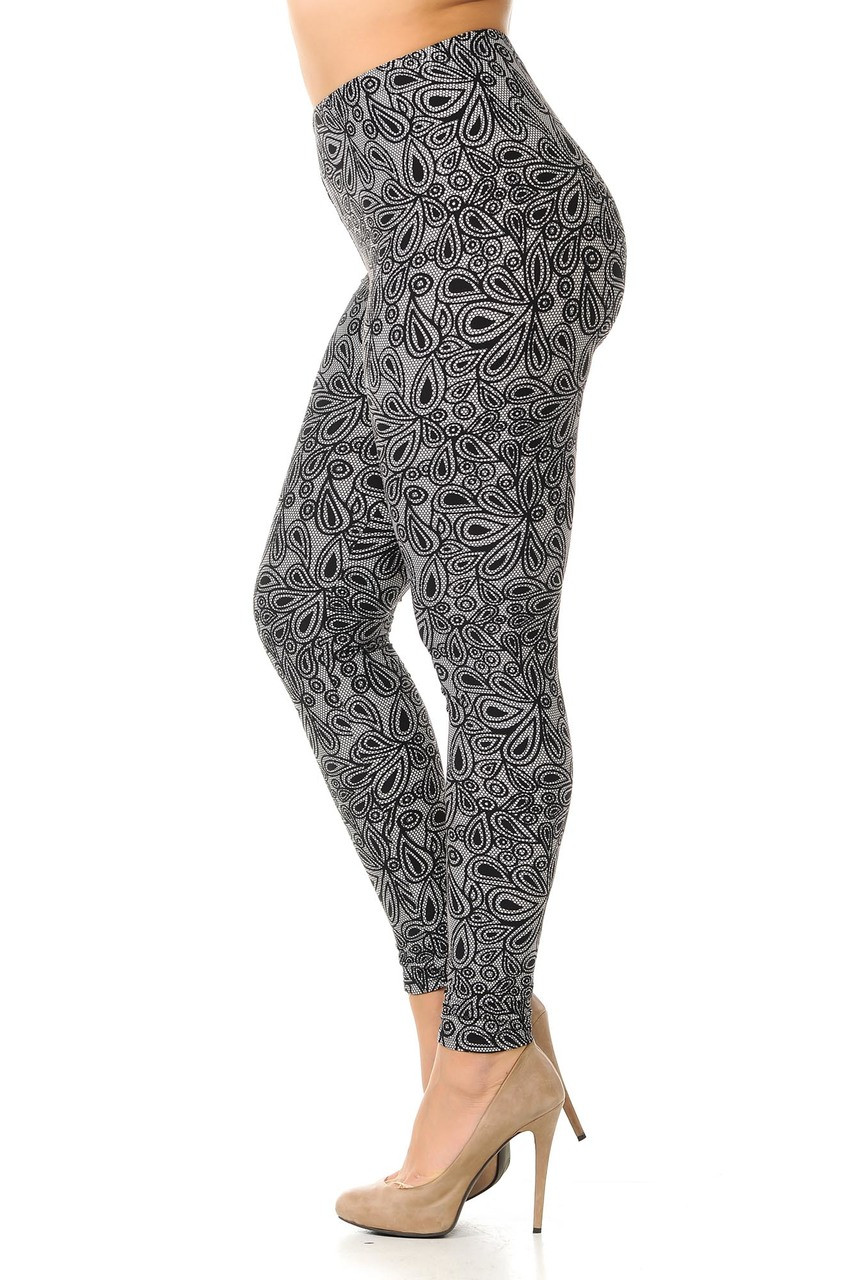 Left side view image of Buttery Soft Netted Petal Plus Size Leggings