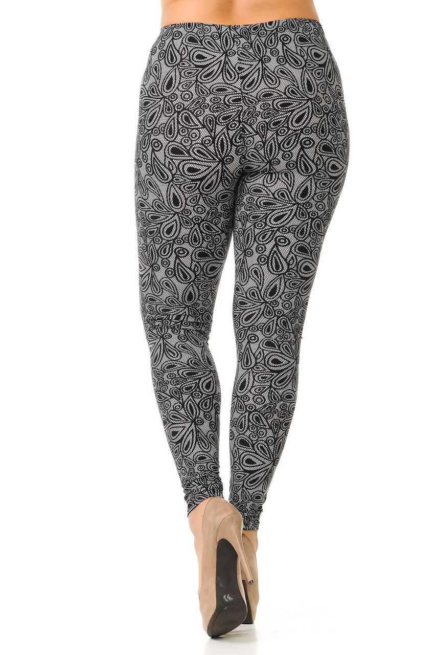 Back view image of Buttery Soft Netted Petal Extra Plus Size Leggings - 3X-5X