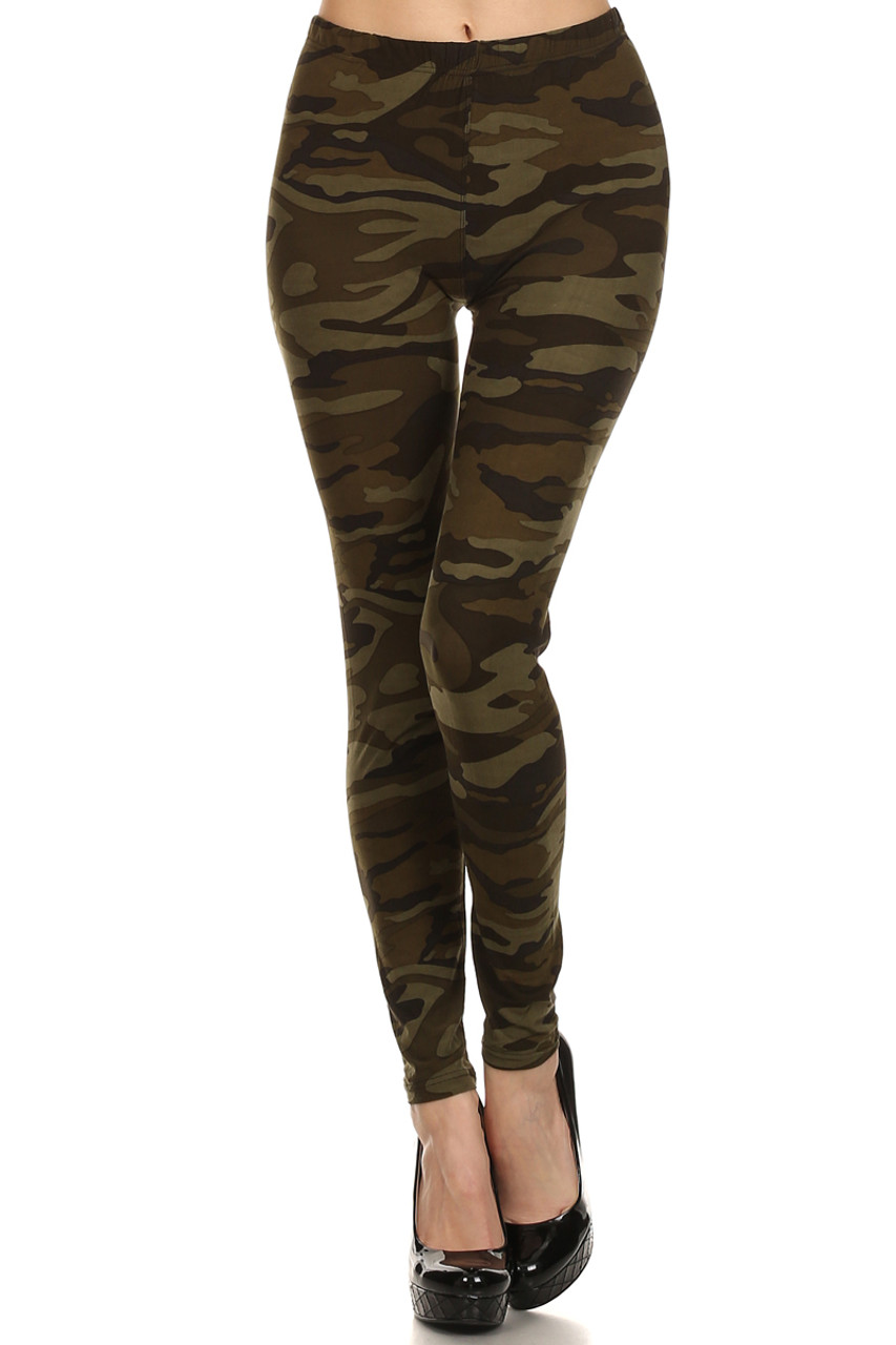 Front view image of our Camouflage Fleece Lined Plus Size Winter Leggings with a comfort elastic waistband and a timeless print that pairs with a top of any color.