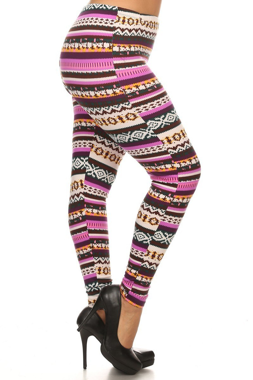 Right side view image of Fleece Lined Plus Size Pink Garland Leggings with a colorful banded design made to look like a knitted striped holiday sweater print.