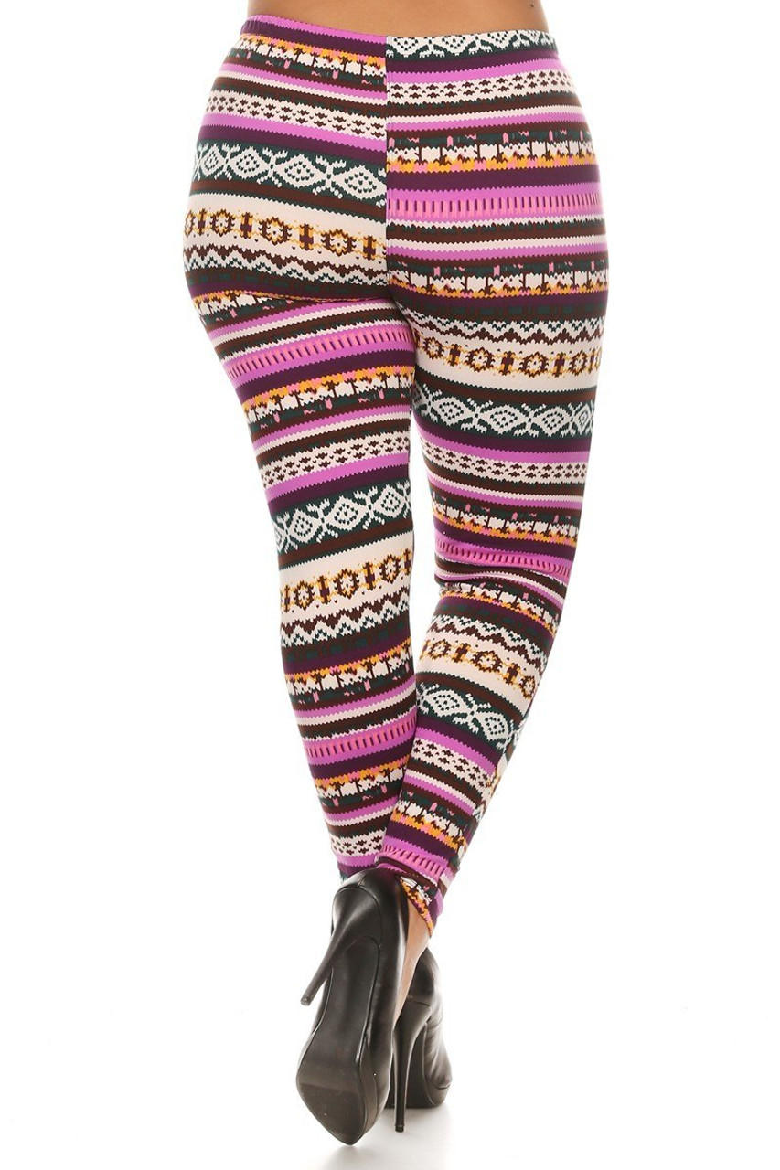 Back view image of our figure flattering Fleece Lined Plus Size Pink Garland Leggings