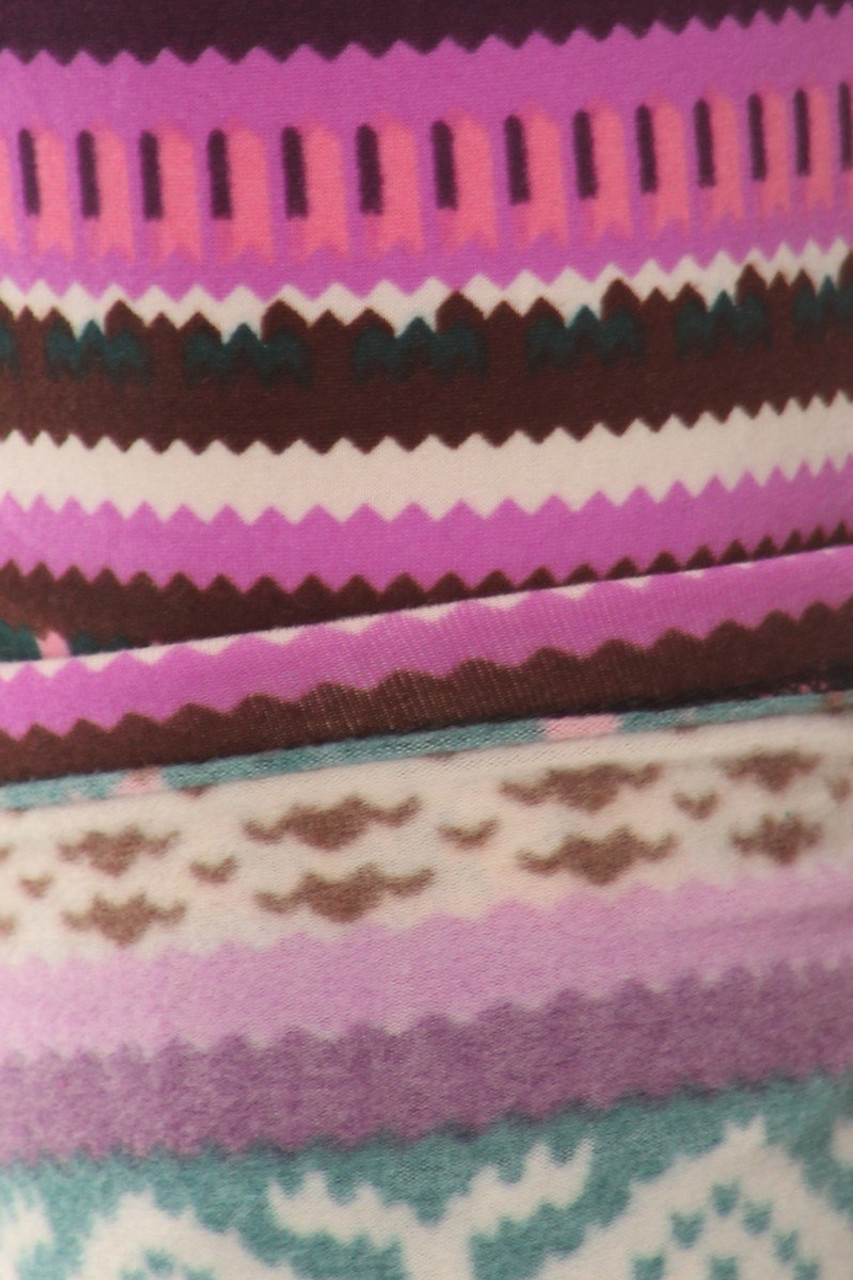 Close up swatch of Fleece Lined Plus Size Pink Garland Leggings showing the super warm and soft interior ideal for cold fall and winter days.